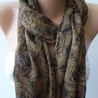 Shawl for Summer / Caramel  Roses - Elegance Shawl / Scarf / soft and light
