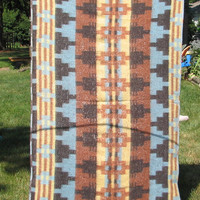 Vintage Indian Camp Blanket - Crib, Single, Lap Size - Brown, Turquoise, Black, Yellow