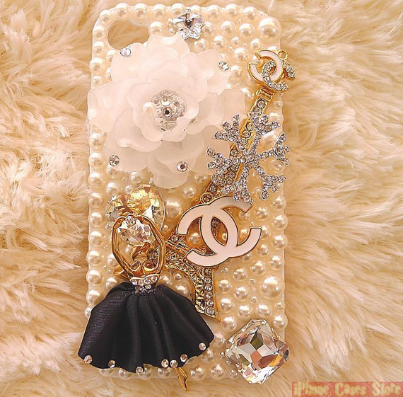 Chanel iPhone 4s case with Imported Czech Crystals and Eiffel Tower Ornament