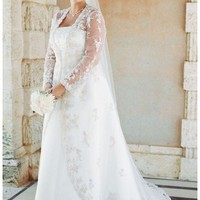 Buy Strapless Satin A-line with Beaded Lace Jacket Style 9V8835  , from  for $168.89 only in Fashionwithme.com.