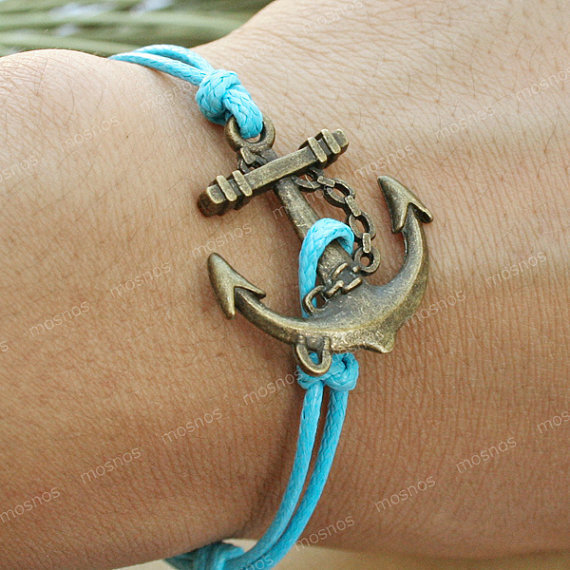 Bracelet-anchor charm bracelet with blue string, anchor bracelet for gifts