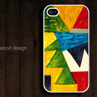 custom iphone cases iphone 4 case iphone 4s case iphone 4 cover abstract painting blue yellow colors design
