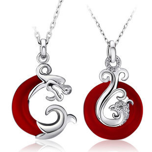 Gullei Trustmart : Dragon and Phoenix sterling silver love couple necklace set [GTMCN008] - $68.00-Couple Gifts, Cool USB Drives, Stylish iPad/iPod/iPhone Cases &amp; Home Decor Ideas