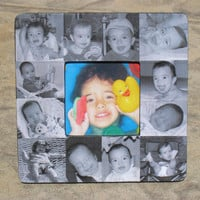 "Baby's First Year Personalized Picture Frame, Custom Baby Collage Picture Frame 8"" x 8"""