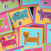 Cat Mini Cards (set of 5) neon