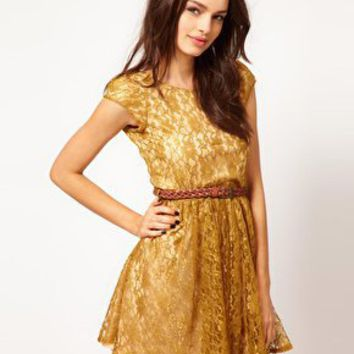 Paprika Belted Lace Skater Dress at asos.com
