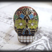 SUGAR SKULL antiqued brass enamel ring adjustable by plasticouture
