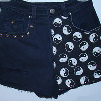 Black yin yang high waisted shorts