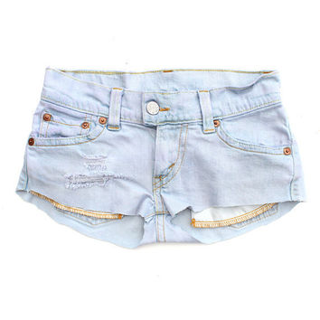 Mini Lilac LEVIS Denim Pastel Hot Pants Re-Worked Cut Offs Shorts