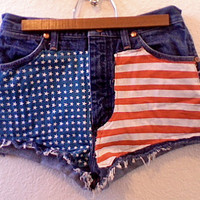High Waisted Studded American Flag Dark Blue Wrangler Denim Shorts