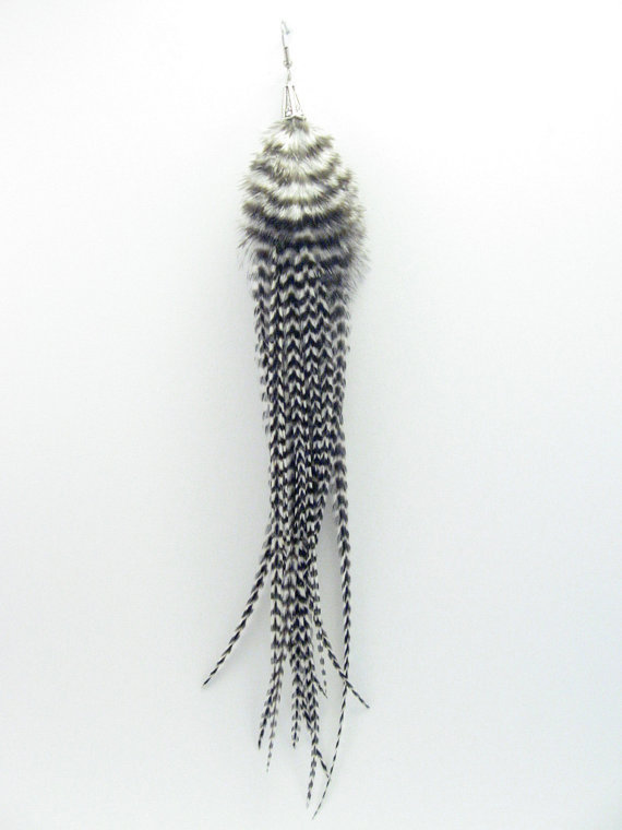 Single Long Feather Earring Black And From Alufolie On Etsy