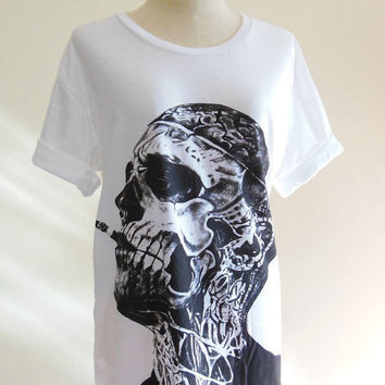 Zombie Boy Rick Genest Skull Tattoo Art Skull -- Zombie Boy Shirt White Tee Shirt Women T-Shirt Men T-Shirt Zombie Boy T-Shirt Size L
