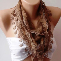 Caramel - Brown  Shawl / Scarf with Lacy Edge-