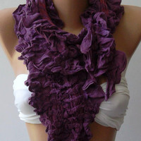 Purple  -- Elegance Shawl -- Scarf with Lace Edge--