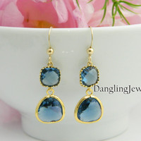 Navy Blue Earrings, Wedding Jewelry, Bridesmaid Gifts, Bridesmaid Earrings, Mother's Earrings, Sapphire Blue, GOLD FILLED