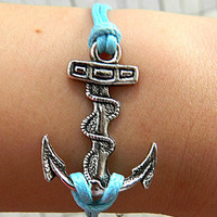 peaceful Blue Adjustable  hipster  jewelry  leather  bracelet   Anchor  Wristband Mens Womens Environmental protection Simple bracelet Z24