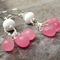 Pink Candy Drops Earrings:  White Sea Glass Dangle Summer Beach Jewelry, Cotton Candy Jade, Bubblegum