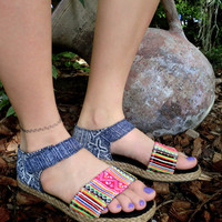 Flat Vegan Sandal Shoe In Colorful Hmong Embroidery &  Deep Blue Batik