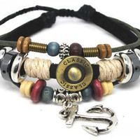 Adjustable Couple Cuff bracelets  made of Black Leather Ropes and Color Wooden Beads Anchor Bracelet unisex Bracelet cuff bracelet 592S1