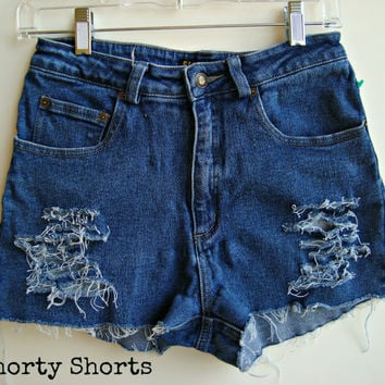 High Waisted Jean Shorts Distressed Denim Shorts Size 6