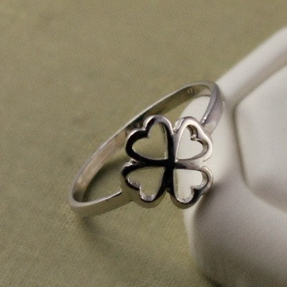 Sterling Silver Four Leaf Clover Ring, Fashion Ring, Delicate, Dainty Everyday Wear Trendy Jewelry, Gift For Her, Girlfriend Gift