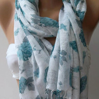 Shawl for Summer /Blue Roses -- Elegance Shawl / Scarf / soft and light--