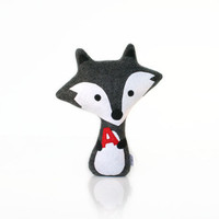 Monogram Fox Doll - Fox Toy - Fox Plush (Gray/Grey)