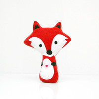 Fox Pillow - Fox Doll - Fox Toy - Fox Plush - Fox Softie (Red)