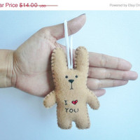 Christmas in July 20% OFF plush bunny ornament - I heart you funny bunny - good for Christmas tree decoration or gift