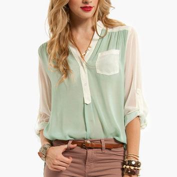Compare and Contrast Button Down Blouse