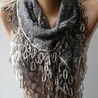 Grey  Lace and Elegance Shawl / Scarf