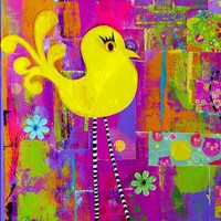 Whimsical Yellow Bird  Black White Striped Legs Colorful Nursery Decor Giclee Print