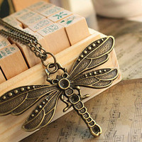 ancient  dragonfly necklace alloy metal pandent women chain necklace   XL-06
