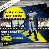 Batman Film Strip Birthday Invitation