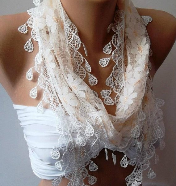 Elegance  Shawl // Scarf with Lacy Edge---