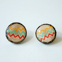Painted Wooden Branch Slice Post Earrings in Orange, Aqua, and Red Zig Zags