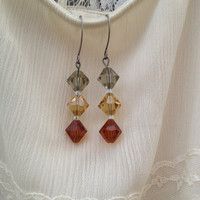 Earth Tone Glass Crystal Earrings