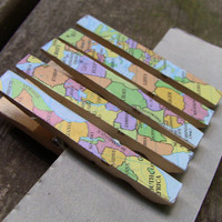 Vintage African Map Clothes Pins (p3)