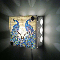 Peacock Repurposed Vintage Dictionary Print Design Light Box Night Light