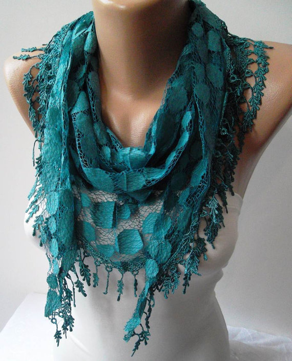 Turqouise Blue and Laced Fabric Scarf  with the Same Color Trim Edge...