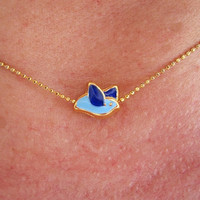 FREE BLUE BIRD Golden Frammed Necklace, Summer, Wedding, Gift
