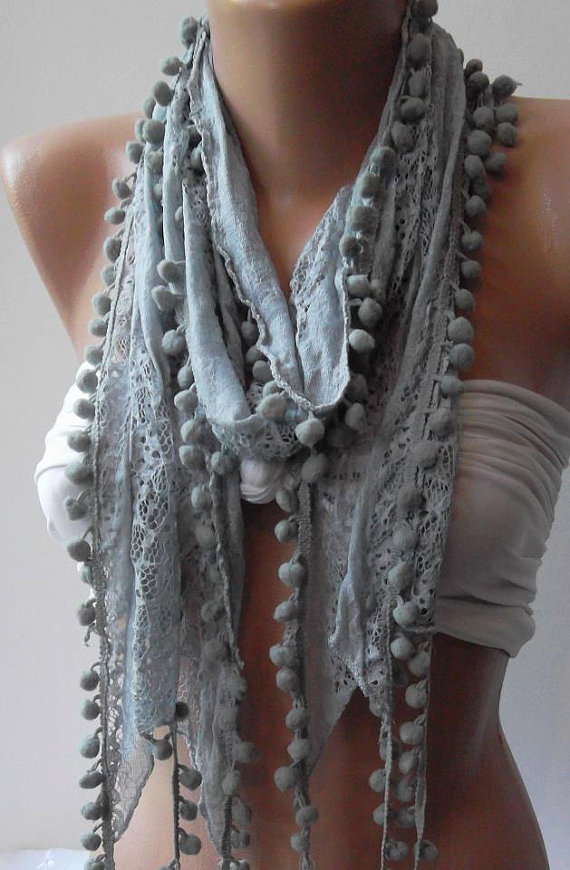 Grey -- Lace and Elegance Shawl / Scarf - with Pompom---