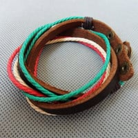 Jewelry bangle leather bracelet buckle bracelet men bracelet women bracelet with leather and  Cotton Rope Woven Bracelets cuff 1SZ-LH-219