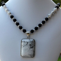 White Buffalo Stone Pendant with Black Onyx &amp; White Buffalo Stone Handmade Necklace