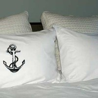 Black Anchor Screen Printed Standard Pillowcases Pair