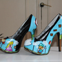 Mario &amp; luigi paper game shoes heels custom handpainted Made to order