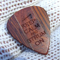 Keep Calm and Strum On - Handmade Exotic Woods Premium Guitar Pick