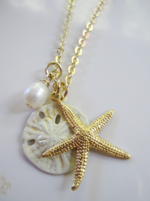 Gold Starfish White Sand Dollar on Gold Chain Beach Wedding Bridesmaid Gift - Gift for Her