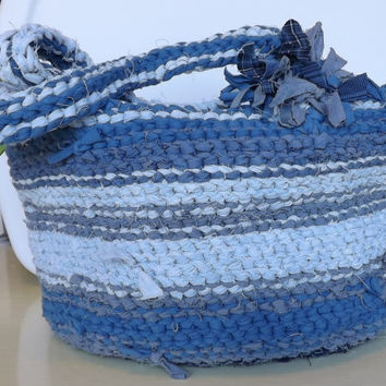 Rag Crochet Boho Shabby Chic Unique Handbag Purse Blue Free Shipping in US