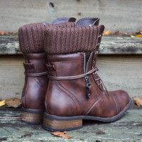 Castle Rock Brown Sweater Combat Boot